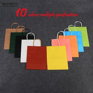 Image 5 - 50pcs Handbag Customized Creative Clothing Gift Bag baby shower wedding christmas Milk Tea Packing Bag White Kraft Paper Bags