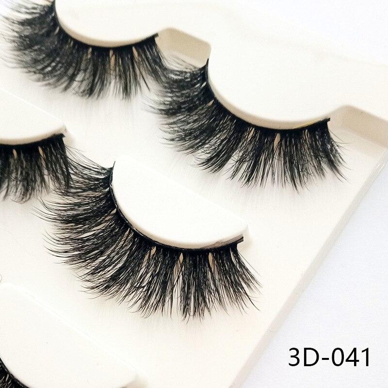 3D-028 3 Pares Preto 100% Real do Vison Naturais Cruz Longos e Grossos Cílios Falsos Cílios Maquiagem Ferramentas de Extensão