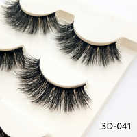 3D-028 3 Pairs Black 100% Real Mink Natural Cross Long Thick Eye Lashes False Eyelashes Makeup Extension Tools