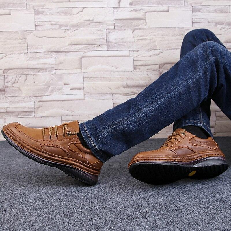 Мужская обувь из натуральной кожи; деловая официальная обувь; 100% дышащие кроссовки из воловьей кожи; обувь для горного туризма; Новинка 2019 года; кожаные кроссовки - 5