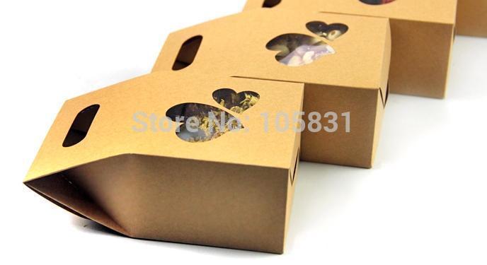 50X boîte de papier kraft écologique 10*15.5cm + 6cm avec fenêtre coeur tenez les faveurs de mariage de poche de nourriture peuvent personnaliser l'impression de logo - 3