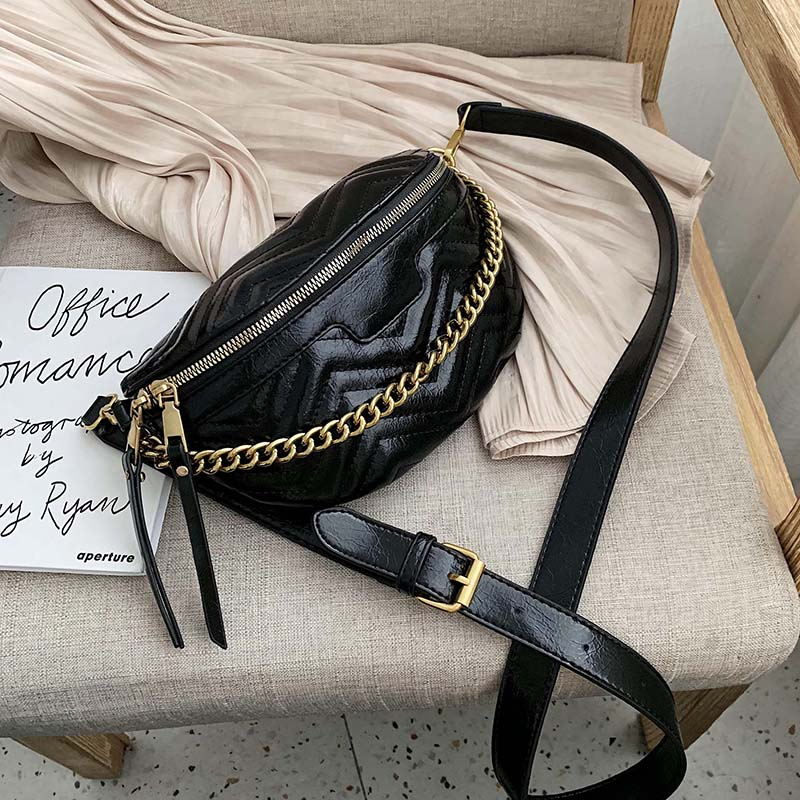 2020 Fashion Chest Bags Lady PU Leather Chain Desingn Crossbody Shoulder Messenger Bag Female Travel Handbags And Purses