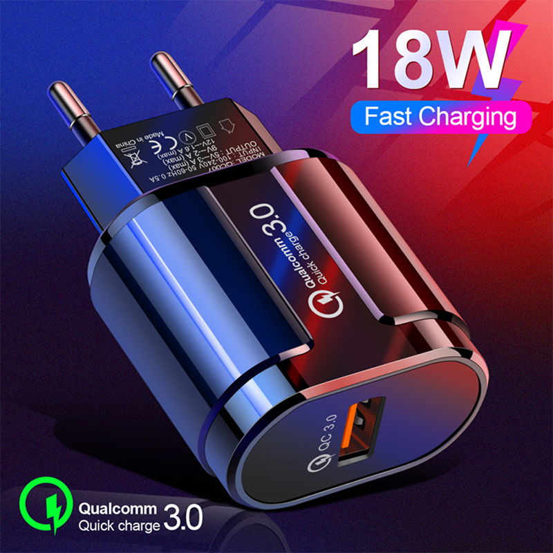 18W Quick Charge 3.0 USB Charger EU US Plug 5V 3A Fast Charging Adapter Mobile Phone Charger For iphone Huawei Samsung Xiaomi LG