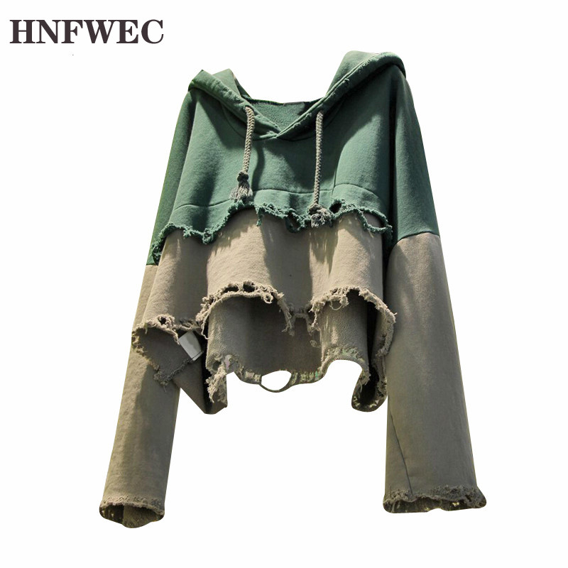 Patchwork Hit Color Sweatshirt Women Hooded Long Sleeve Plus Size Loose Frayed Sweatshirts Female 2020 Fashion Clothes P496 image