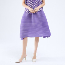 Pleated Skirt Irregular-Thin Purple A-Line Elastic-Waist Plus-Size Fashion Woman Solid