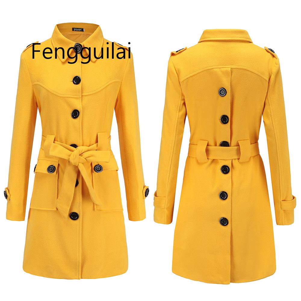 FENGGUILAI 2019 Fashion Solid Women Yellow  Red Wool Coat Single Breasted Autumn Winter Jacket Patchwork Cashmere Coat 2019