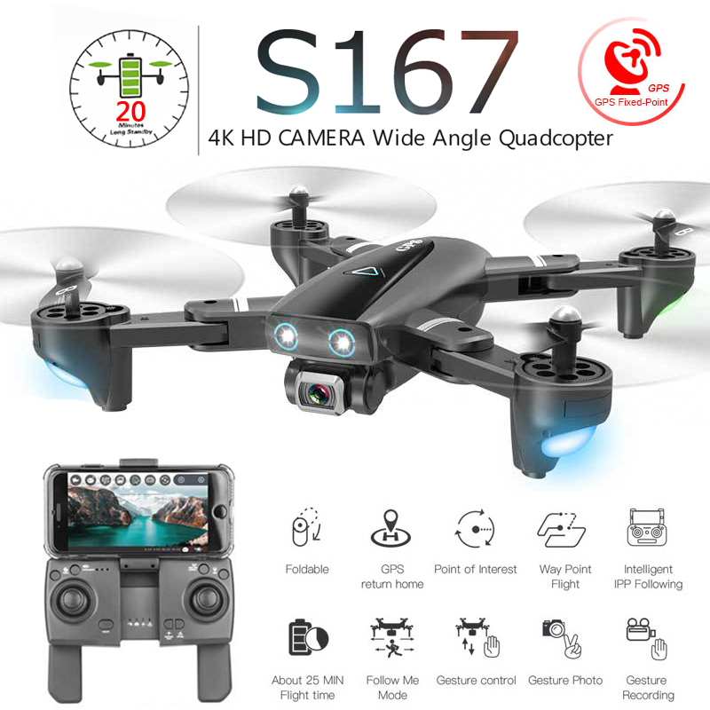 S167 Dobrável 4 Zangão com Câmera Profissional K HD Selfie 5G GPS WiFi FPV Grande Angular RC Quadcopter Helicóptero brinquedo E520S SG900-S