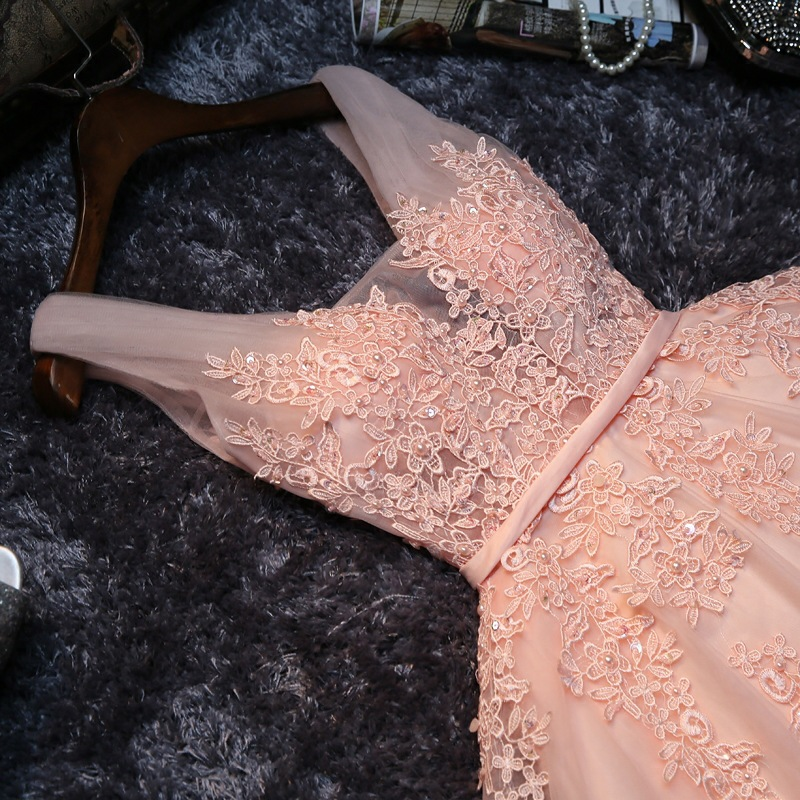 Women's short formal prom evening party dress Plus size lace beading pink wedding party dress sexy cocktail party dress 2