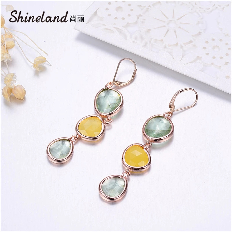 Dangle Long Earrings Fashion Jewelry Charms Colorful Crystal Stone Copper Drop Pink Brincos For Women 2020 Gifts
