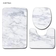 Tapis de salle de bain Texture marbre, couverture de couvercle de toilette en Polyester, tapis de sol de toilette antidérapant, ensemble de tapis de salle de bain 3 pièces