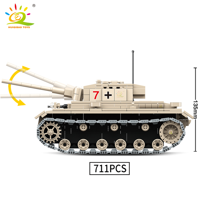 HUIQIBAO 711pcs Military III medium Tank Building Blocks 3 Army Soldier WW2 weapon Model Bricks set City Toys for children boy