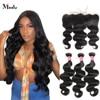Meetu 4x4 Spitze Verschluss Mit Bundles Körper Welle Bundles mit 13X4 Frontal Malaysische Haar Bundles mit Frontal Nicht remy