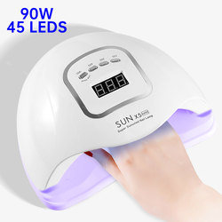 90W UV LED Nail Lamp For Manicure 45 Leds Nail Dryer For All Gels Polish LCD Display Lamp For Drying Nails Manicure Tools