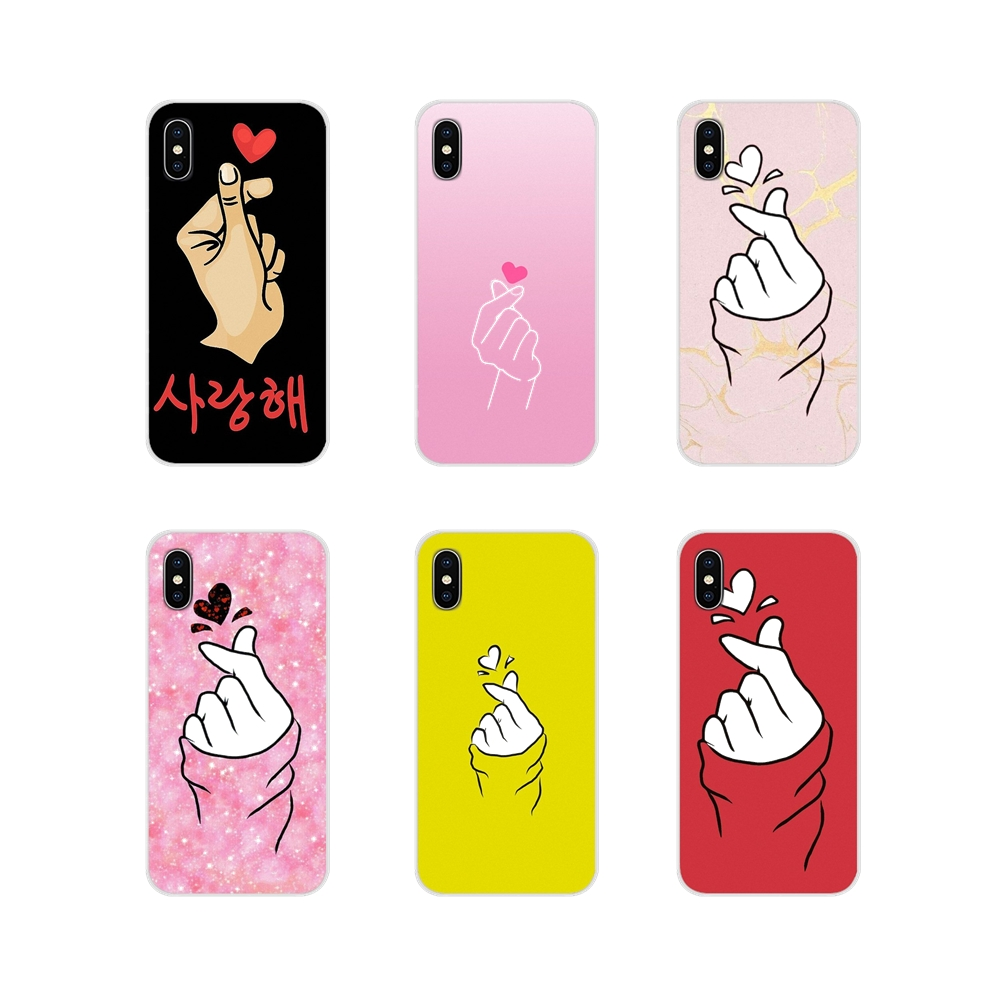 Silicone Shell <font><b>Case</b></font> Lovely Cute <font><b>Korean</b></font> Finger Heart For <font><b>Samsung</b></font> Galaxy S3 S4 S5 Mini S6 S7 Edge <font><b>S8</b></font> S9 S10 Lite Plus Note 4 5 8 9 image