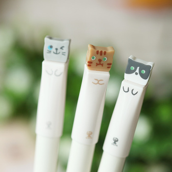 3pcs Lovely Cat Gel Pen 0.38mm Kawaii Printing Black Color Ink Pens Stationery Office Accessories School Writing Supplies H6533 3pcs beautiful star and moon gel pen set 0 5mm black color ink pens writing girl gift stationery office school supplies a6538