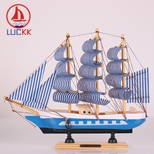 LUCKK 24CM Handmade Retro Wooden SaillBoat Model Miniature Figurines Room Home Decor Accessories Arts Nautical Crafts Kids Gifts