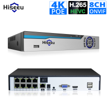 Hiseeu 4K 8CH POE NVR ONVIF H.265 3.5mm Audio Out Surveillance Security Video Recorder for POE IP Camera (1080P/4MP/5MP/8MP/4K)