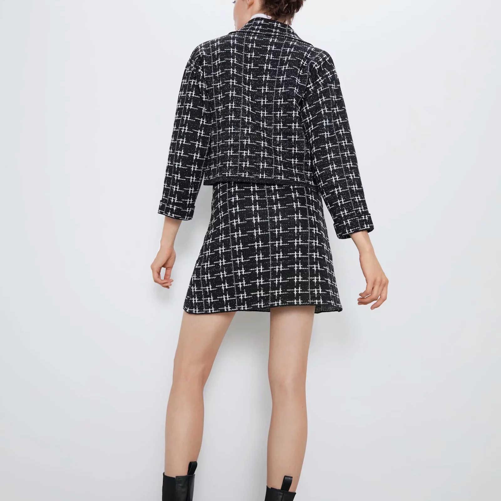 Trajes de otoño conjunto de dos piezas para mujeres de punto abrigo tweed chaqueta suéter trajes blazer y mini falda de cintura alta femme
