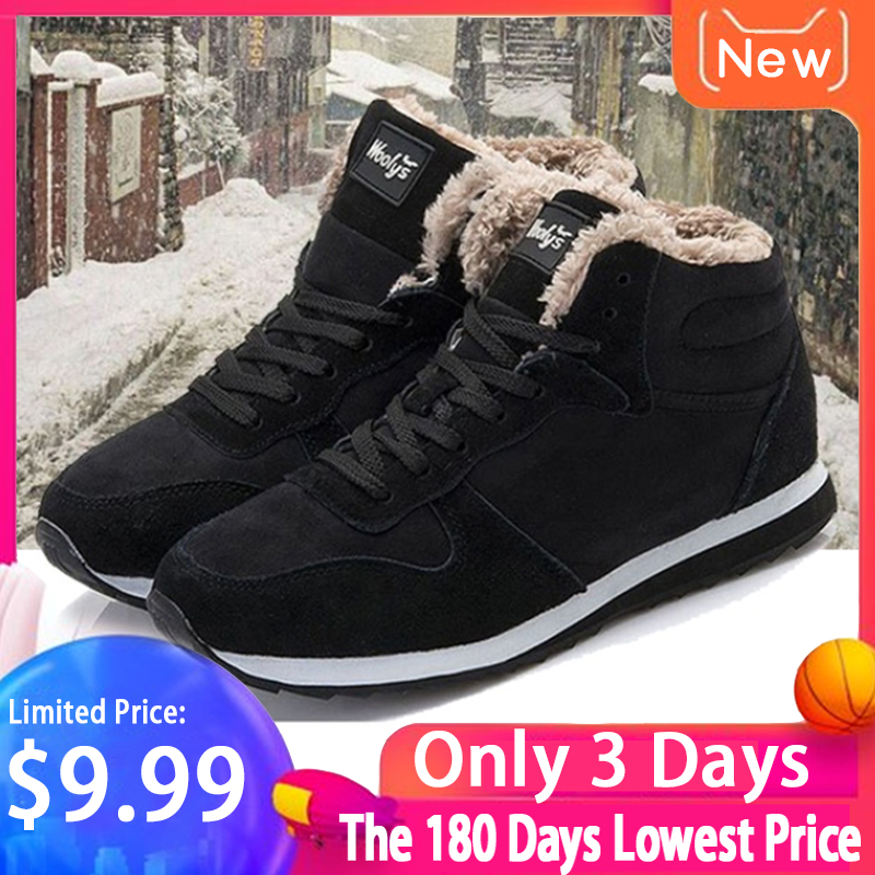 Men's Snow Boots Winter Shoes Fashion Snow Boots Shoes Plus Size Winter Sneakers Ankle Women Winter Boots Black Blue Footwear