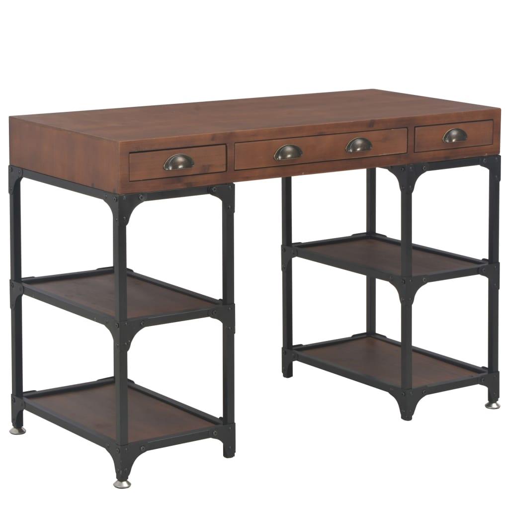 VidaXL Desk With 3 Drawers 110x50x78 Cm Solid Fir Wood