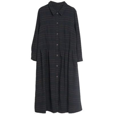 Uego Plaid Fashion Blouse Dress Long Sleeve New Autumn Dress Cotton Linen Loose Women Dress Plus Size Female Casual Spring Dress 6