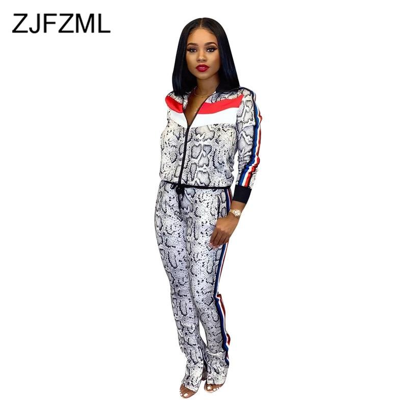 Snake Skin Print 2 Piece Matching Set Women Clothes Front Zipper Full Sleeve Jacket+ Pocket Fitness Pant Autumn Winter Tracksuit