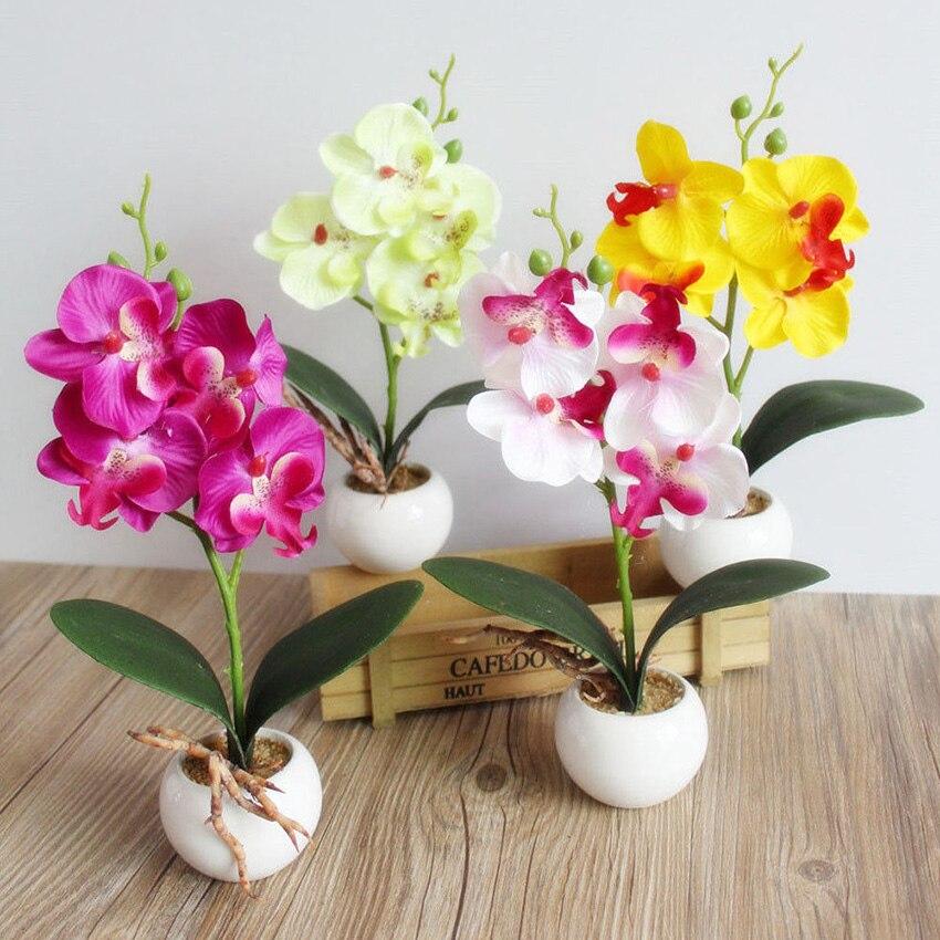 3 головок, искусственные бабочка цветок орхидеи заполненные жизни для дома и сада Свадебный декор из ткани, эстетическое УП