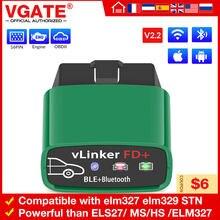 Vgate vlinker fd para ford forscan programação atualizar escondido ms pode espanhol francês diagnóstico automático obd2 elm327 v2.2 ferramentas de varredura