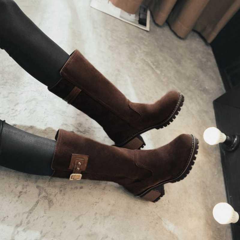 Winter Weibliche Flock Schnee Stiefel Starke Ferse Über Knie Stiefel Frauen Plattform Warme Frauen Schuhe Braun Reiter Stiefel Schuhe