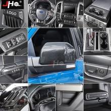 JHO 전체 세트 픽업 액세서리 ABS 탄소 섬유 곡물 인테리어 장식 베젤 커버 트림 키트 포드 F150 랩터 2017 2018 2019