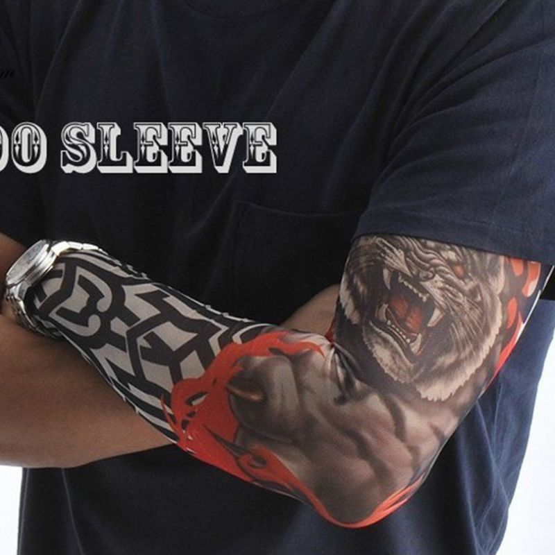 Mens Mens Fake Tattoo Sleeves Cover Unisex Party Body Art Temporary Sunscreen Tiger Skull Clown Digital Printing Arm Warmer
