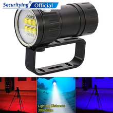 SecurityIng QH14 LED Flashlight Diving 300W 28800 Lumens LED Underwater 80m Scuba Diving Light for Photography Video Fill Light tinhofire qh14 underwater 80m 6 9090 white light xml2 4 xpe r5 red blue photography video led diving flashlight photo fill light