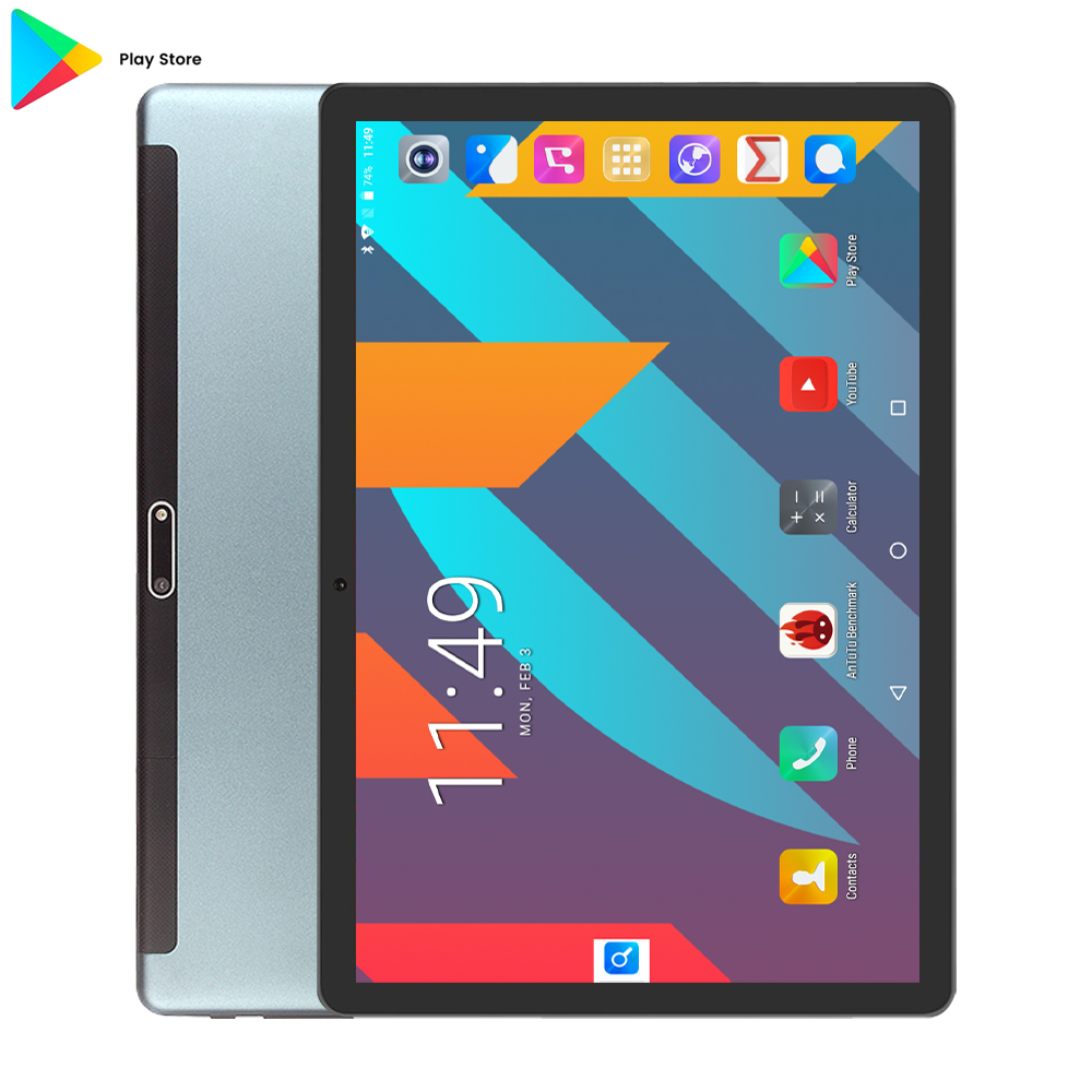 Black Super 32GB Tablet 2.5D Glass 10 Inch Tablet Android 7.0 Quad Core 1280x800 HD IPS Dual Cameras GPS WIFI Tablet 10 Gifts