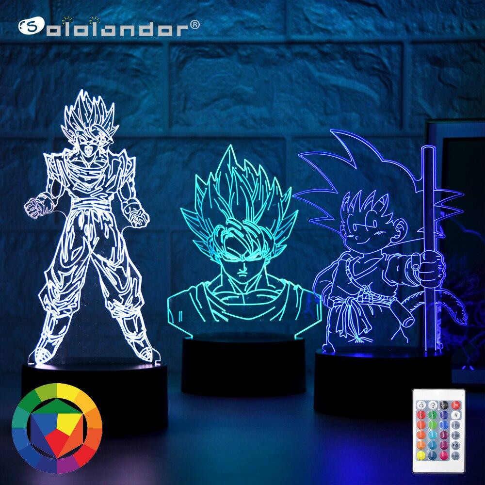 Новый 3D ночной Светильник, фигурка Гоку, декор для детской спальни, Ночной светильник, крутой подарок для детей на день рождения, аниме гадже...