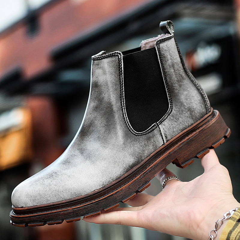 2019 Winter High Quality Genuine Leather Chelsea Boots Men Comfortable  Casual Slip-on With Fur Keep Wram Shoes For Male Botas