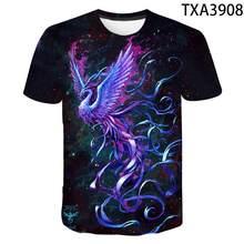 Camiseta con estampado de aves de Fnix azul 3D para hombre y mujer, ropa informal Harajuku, Phoenix Nirvana verano 2021