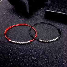 Simple Couple Anklet Silver 925 Beaded Jewelry Autumn Ankle Bracelet Female Leg Chain Red Rope Black Hand-Woven