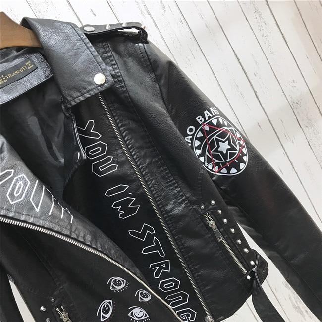 H01a8cdf8c60648dcb13b1c26f8a617f17 2021 New Autumn Women Winter Faux Soft Leather Jackets Coats Lady Black PU Rivet Zipper Epaulet 3D print Motorcycle Streetwear