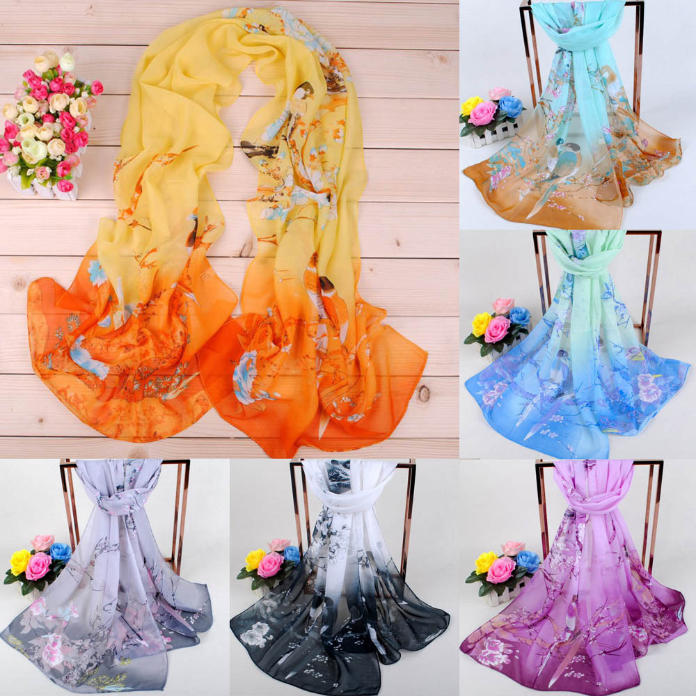 Newest Fashion Women Shawls Lotus Printing Long Soft Wrap Scarf Ladies Shawl Soft Scarves Fantastic Neckerchief Wraps  @5