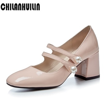 high heel vintage square toe korean patent leather thick luxury women office shoes classic pumps black red ankle strap mary jane