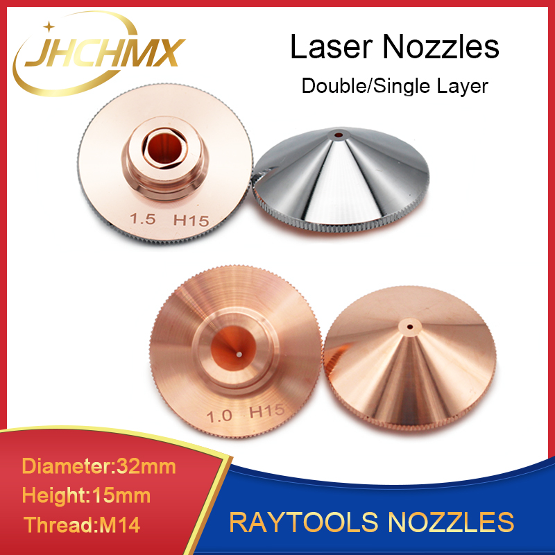 JHCHMX Raytools Nozzle Single/Double Layer Dia.32mm Caliber 0.8-4.0mm For Empower Fiber Laser Head Bodor Glorystar Laser Machine