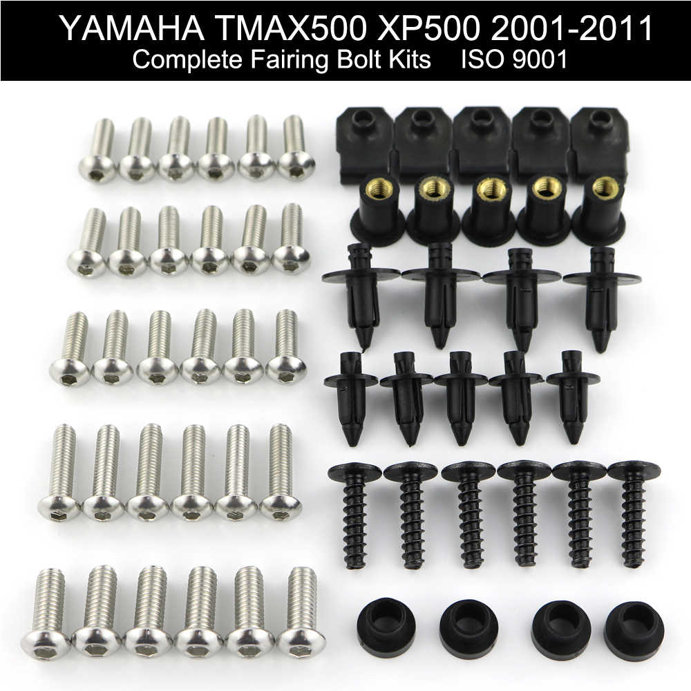 For Yamaha Tmax 500 XP500 2001-2011 2002 2003 2004 2005 2006 2007 2008 Complete Full Fairing Bolts Kit Clips Nut Stainless Steel