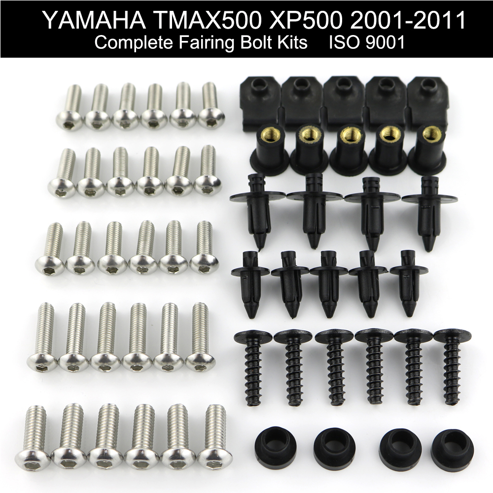 For Yamaha Tmax 500 XP500 2001 2011 2002 2003 2004 2005 2006 2007 2008 Complete Full Fairing Bolts Kit Clips Nut Stainless Steel-in Full Fairing Kits from Automobiles & Motorcycles
