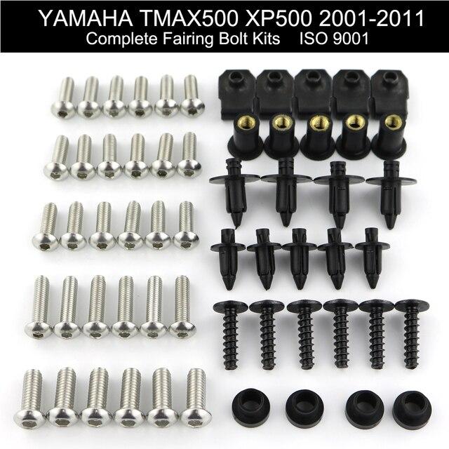 สำหรับ Yamaha Tmax 500 XP500 2001 2011 2002 2003 2004 2005 2006 2007 2008 เต็มรูปแบบ Fairing Bolts Kit คลิปอ่อนนุชสแตนเลส