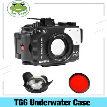 Seafrogs 195FT/60M Underwater camera waterproof diving housing Case for Olympus TG-6 Bags seafrogs tg6 60m 195ft underwater diving waterproof housing camera case for olympus tg 6 waterproof camera bags w wet dome port