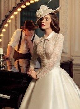 Vestido De Festa 1930s Vintage High Neck Long Sleeve Ball Gown Ivory Wedding Dresses vestidos Noiva Bridal