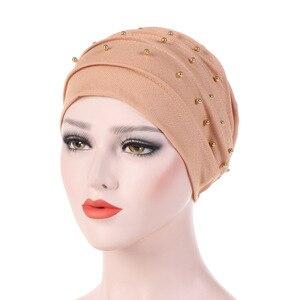 Image 5 - Musulmano turbante per le donne cotone turbante mujer chemio cappello cancro headwear pianura turbante hijab femme musulman turbanti che borda cofano