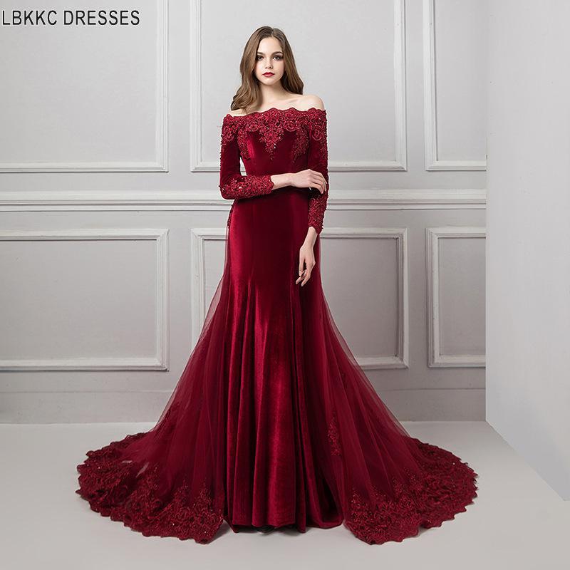 Boat Neck Formal Dress Evening Gown Appliques Lace Velvet Mermaid Evening Dresses 3/4 Long Sleeve Dress Evening Detachable Train