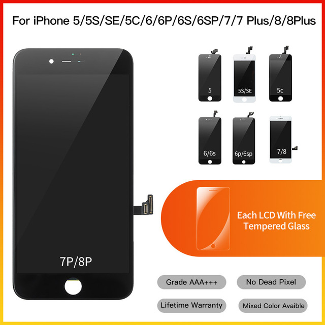 10 Piece Grade AAA+ Replacement Touch Screen Digitizer Assembly LCD For iPhone 5 5S 6 6S 7 8 Plus Display