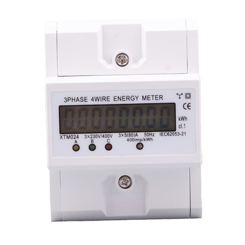 Electronic Watt Power Consumption Energy Meter Wattmeter kWh Din Rail 3 Phase 4 Wire 5-80A 380V AC 50Hz LCD Backlight Display